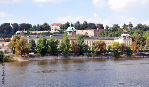 Palac in Prague and the Vltava River, Czech Republic, Europe
