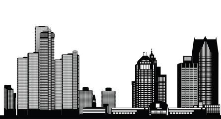 detroit american city skyline