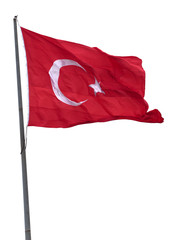Turkish flag on flagpole waving in wind