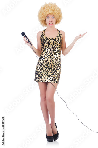 Singer  woman with mic isolated on white