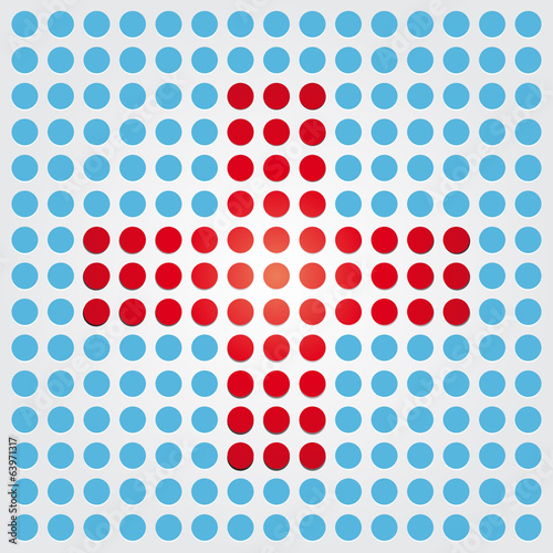 red cross on a blue background of dots