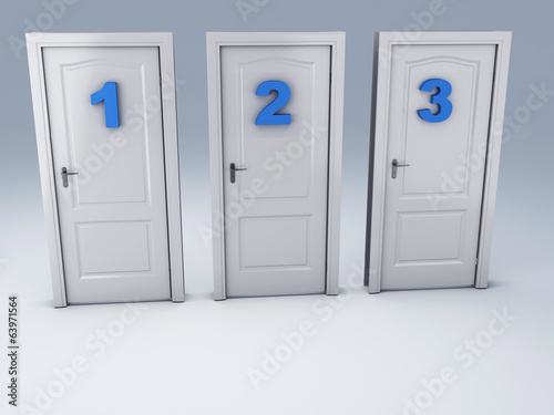 three doors, choice concept