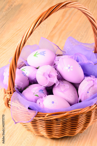 Wicker basket with decorative Easter eggs