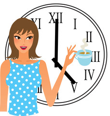 Tea time woman with a cup of tea and a big clock