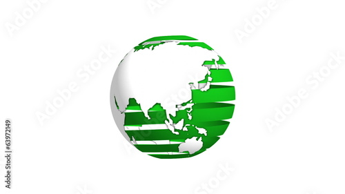 Green Ribbon Earth Rotating