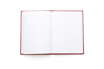 open blank book with lines and red cover, isolated on white