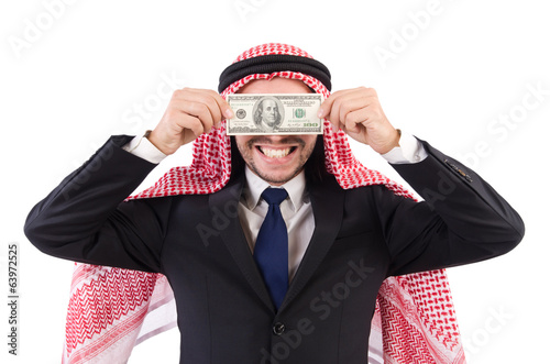 Arab businessman with money  in funny consept isolated on white