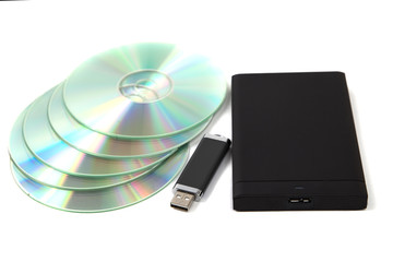 CD ROM, external hard disk and USB memory stick