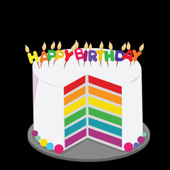 rainbow cake decorated with colorful birthday candles