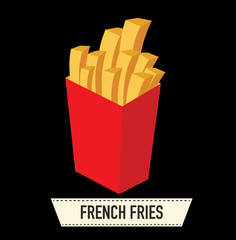 french fries in a red carton box