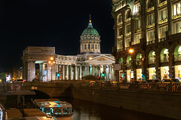Kazan Cathedral at night, St. Petersburg, Russia