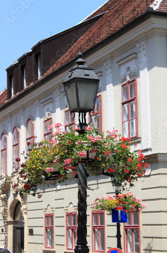 Old style street lamp with flowers