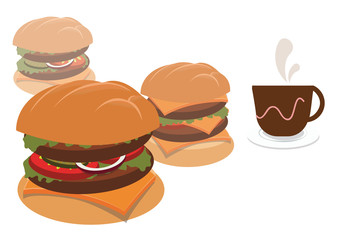 classic burgers. concept vector illustration