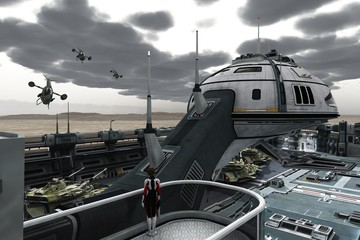 Science fiction military base