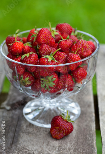strawberries in a beautiful glass dish