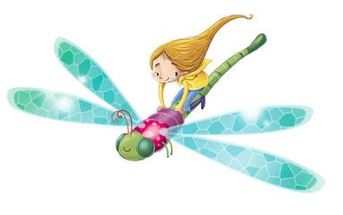 niña y libélula