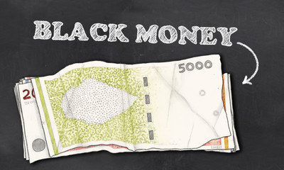 Black Money on Blackboard