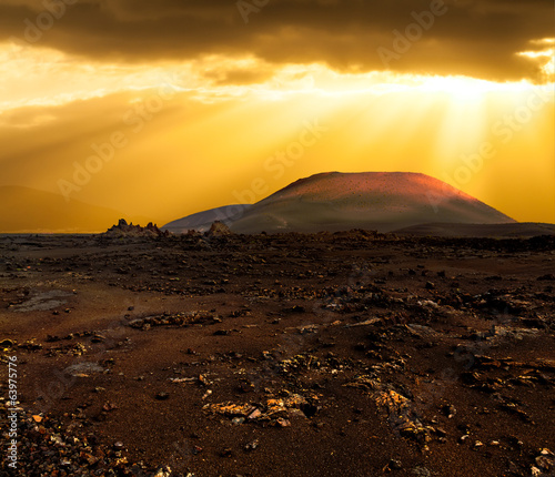 Sunset over volcano