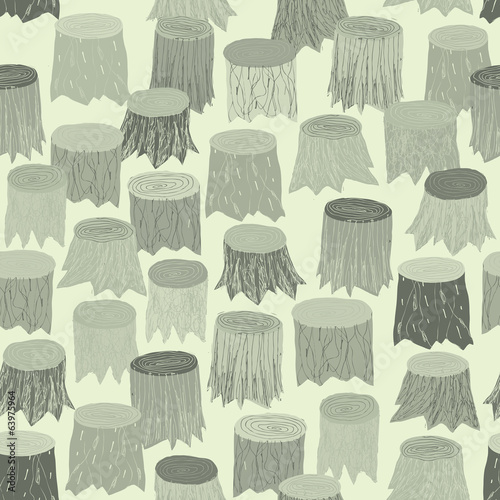 Tree Stump seamless pattern tapestry in grey
