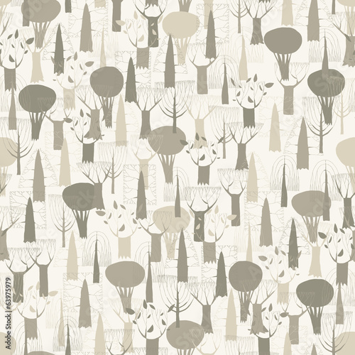 Trees seamless pattern tapestry in grey © ivook