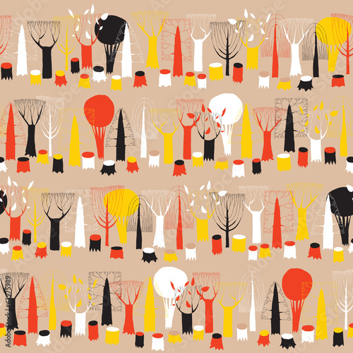 Trees seamless row pattern tapestry in colors