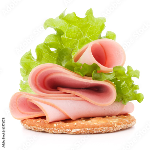 sandwich with pork ham on white background  cutout