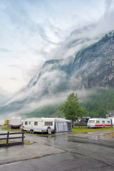 Campsite on the Geiranger fjord