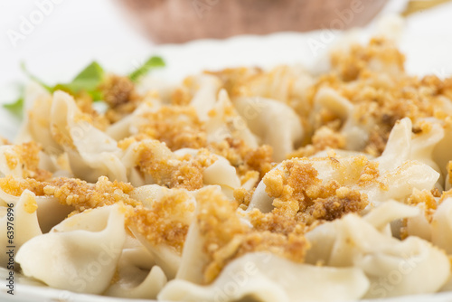 Close up of Traditional Turkish Food Manti