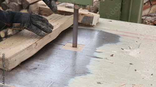 Worker cutting beech wood plank into pieces for fireplace
