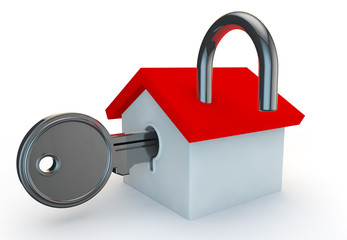 a open padlock with a house