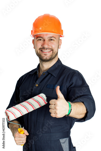 builder with roller for painting isolated on white background