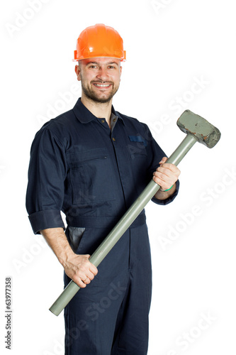 builder with hammer isolated on white background