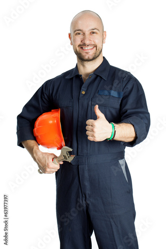 builder with spanner isolated on white background