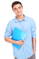 Student with files