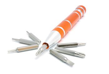 Orange miniature screwdriver