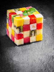 Colorful gourmet cube of diced fresh exotic fruit