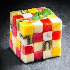 Decorative cube of diced fresh summer fruit