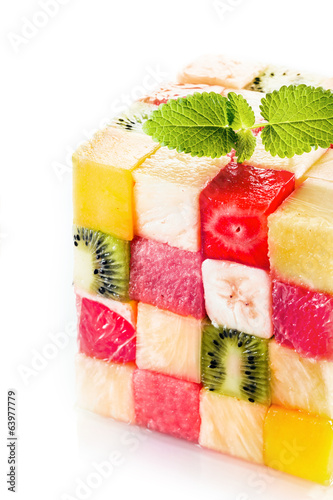 Decorative cube of colorful tropical fruit squares