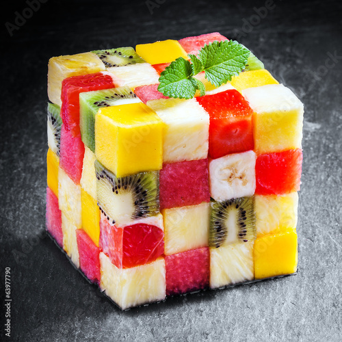 Decorative cube of diced fresh summer fruit
