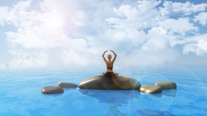 Female in yoga position in ocean