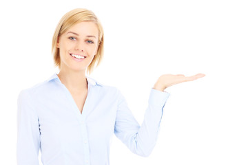 Businesswoman showing space