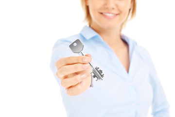 Woman giving key