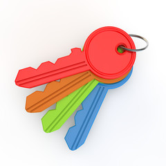 set of coloured keys from above
