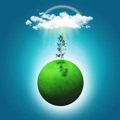 3D render of a grassy globe with a seedling, rainbow and rainclo