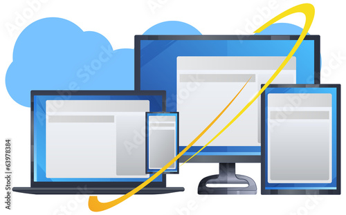 Cloud Technology With Responsive Design - Illustration
