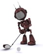 Android playing golf