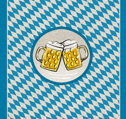 Bavaria Illustration, Biere auf grobem Stoff