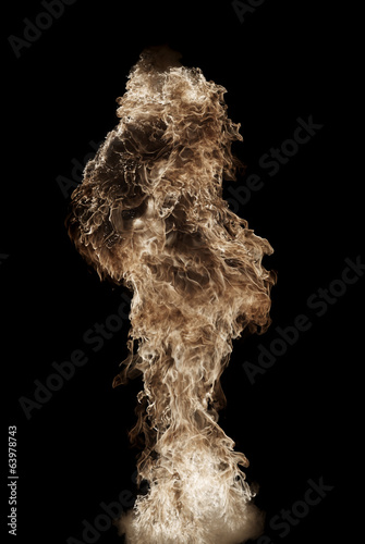 Yellow fire ball, flame blast, dark background