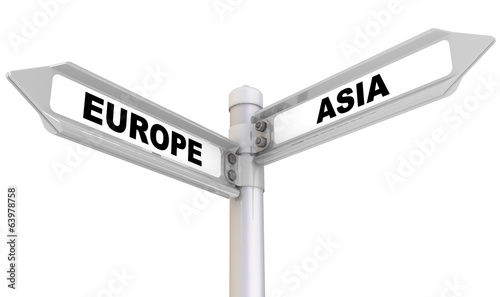 canvas print picture Europe, asia. Road sign