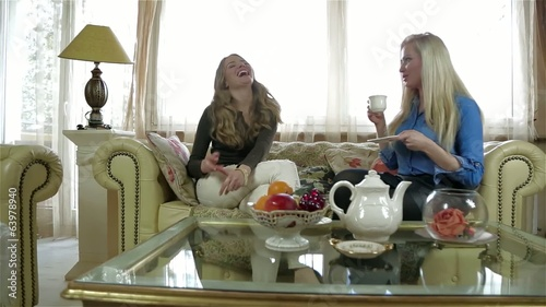 Young female friends with tea cups gossiping in the living room